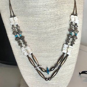 Antique Silver, Shell & Turquoise Layered Necklace